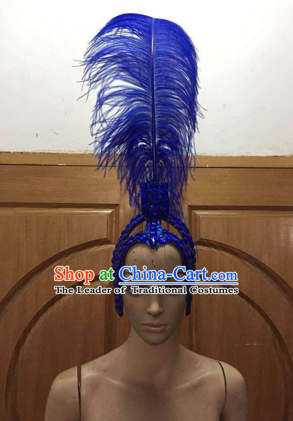 Top Grade Brazilian Rio Carnival Samba Dance Royalblue Feathers Hair Accessories Headpiece, Halloween Parade Feather Decorations Headwear for Women