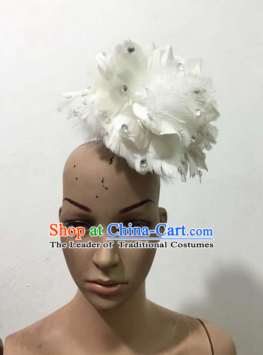 Top Grade Brazilian Rio Carnival Samba Dance White Feathers Hair Accessories Headpiece, Halloween Parade Feather Decorations Headwear for Women