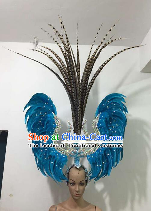 Top Grade Brazilian Rio Carnival Samba Dance Feathers Hair Accessories Deluxe Headpiece, Halloween Parade Feather Decorations Headwear for Women