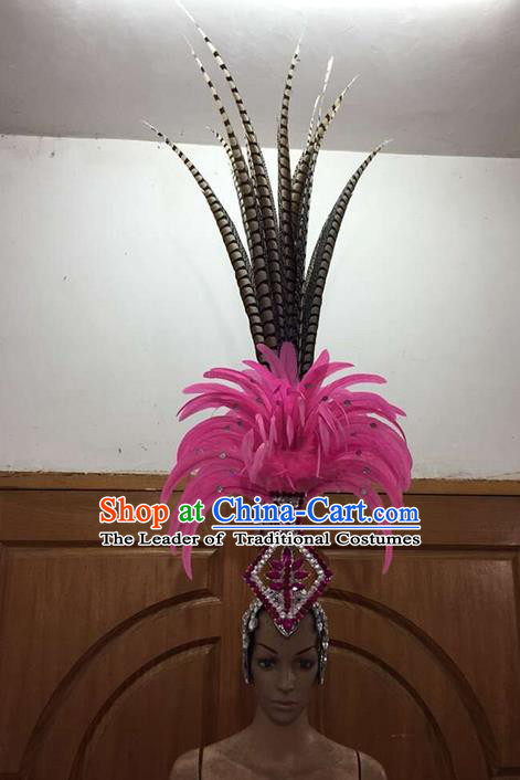 Top Grade Brazilian Rio Carnival Samba Dance Rosy Feathers Hair Accessories Deluxe Headpiece, Halloween Parade Feather Decorations Headwear for Women