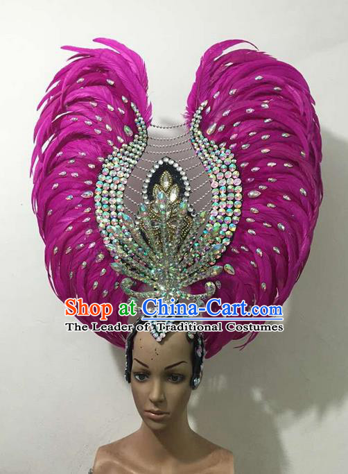 Top Grade Brazilian Rio Carnival Samba Dance Rosy Feathers Hair Accessories Deluxe Headpiece, Halloween Parade Feather Decorations Crystal Headwear for Women