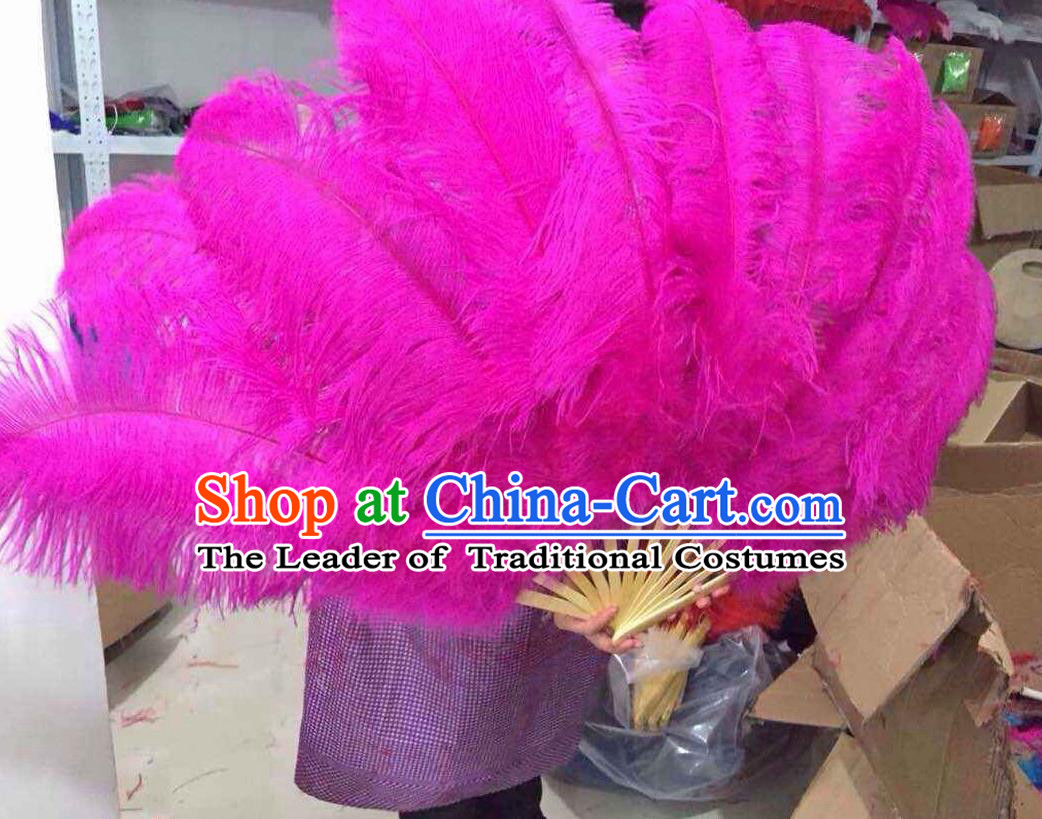 Top Grade Professional Performance Catwalks Pink Feather Big Fans, Brazilian Rio Carnival Parade Samba Dance Folding Fans