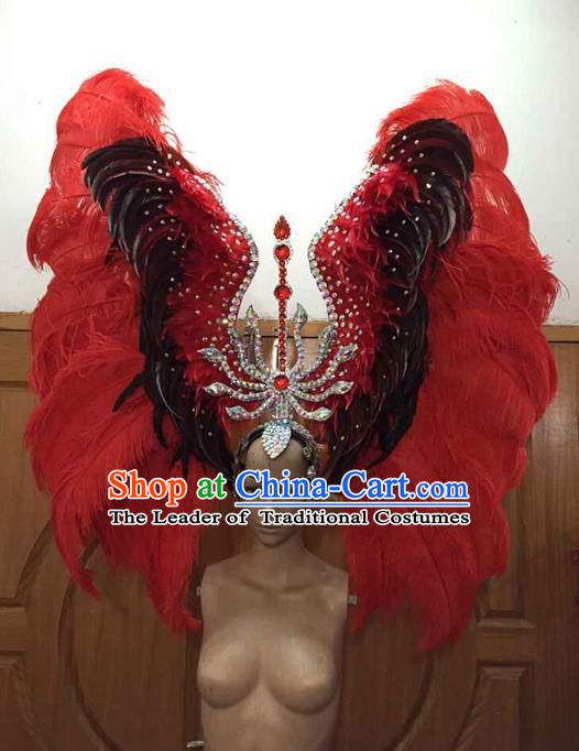 Top Grade Brazilian Rio Carnival Samba Dance Red Feathers Big Hair Accessories Deluxe Headpiece, Halloween Parade Feather Decorations Crystal Headwear for Women