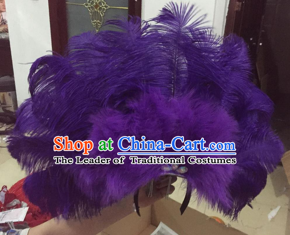 Top Grade Professional Performance Catwalks Purple Feathers Deluxe Hair Accessories, Brazilian Rio Carnival Parade Samba Dance Headdress for Women