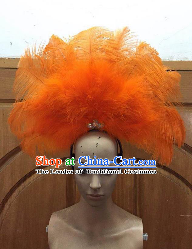 Top Grade Professional Performance Catwalks Orange Feathers Deluxe Hair Accessories, Brazilian Rio Carnival Parade Samba Dance Headdress for Women