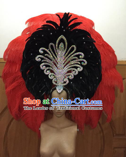 Top Grade Professional Performance Catwalks Red Feathers Deluxe Hair Accessories, Brazilian Rio Carnival Parade Samba Dance Big Headdress for Women