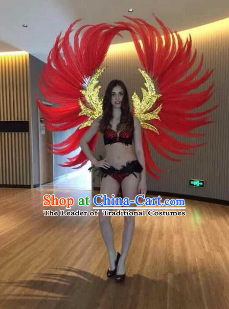 Top Grade Professional Performance Catwalks Red Feathers Decorations Backplane, Brazilian Rio Carnival Parade Samba Dance Wings for Women