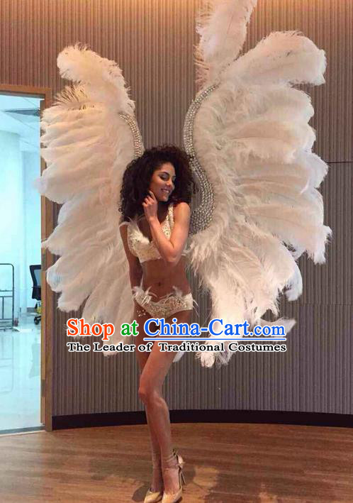 Top Grade Professional Performance Catwalks White Feathers Decorations Backplane, Brazilian Rio Carnival Parade Samba Dance Wings for Women