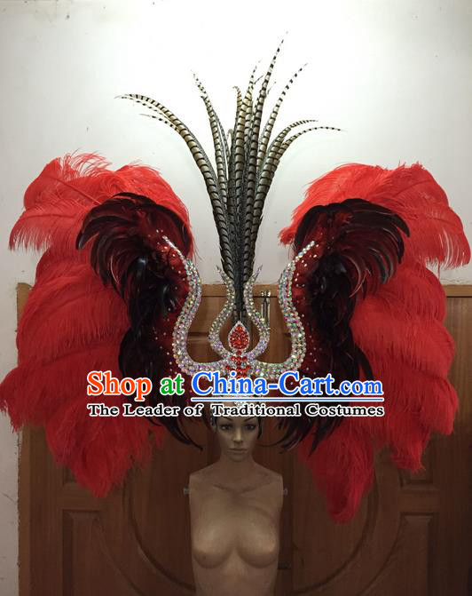 Top Grade Professional Performance Catwalks Red Feathers Big Hair Accessories, Brazilian Rio Carnival Parade Samba Dance Deluxe Headpiece for Women