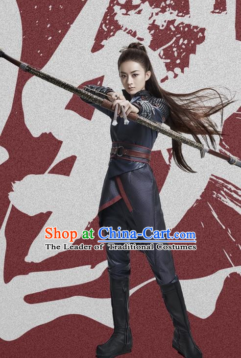 Traditional Ancient Chinese Northern and Southern Dynasties Swordswoman Costume, Princess Agents Northern Wei Dynasty Female Assassin Clothing and Headpiece Complete Set