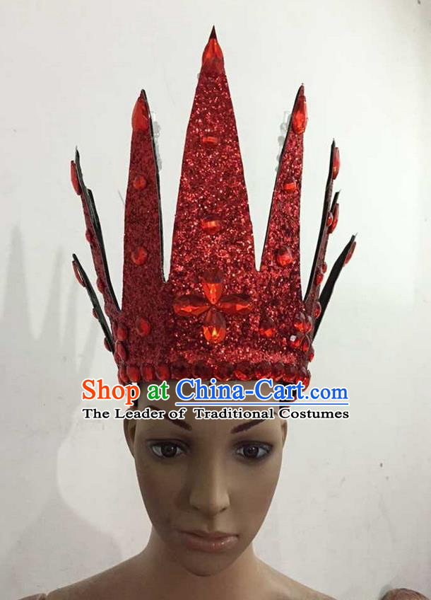 Top Grade Professional Performance Catwalks Hair Accessories, Brazilian Rio Carnival Parade Samba Dance Red Crystal Crown Headwear for Women