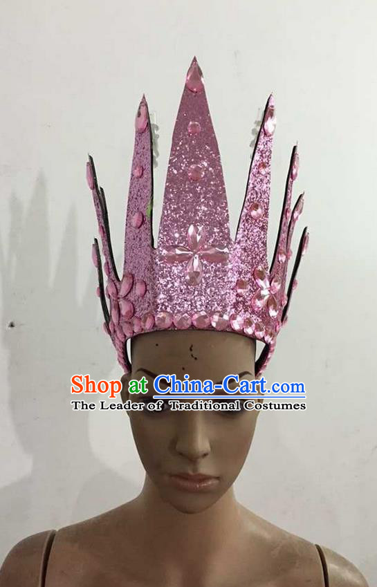 Top Grade Professional Performance Catwalks Hair Accessories, Brazilian Rio Carnival Parade Samba Dance Pink Crystal Crown Headwear for Women