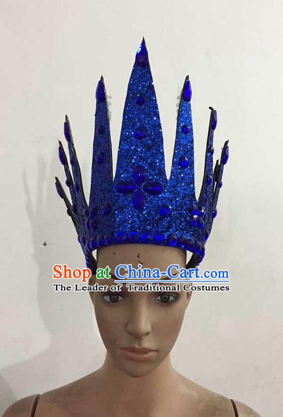 Top Grade Professional Performance Catwalks Hair Accessories, Brazilian Rio Carnival Parade Samba Dance Royalblue Crystal Crown Headwear for Women
