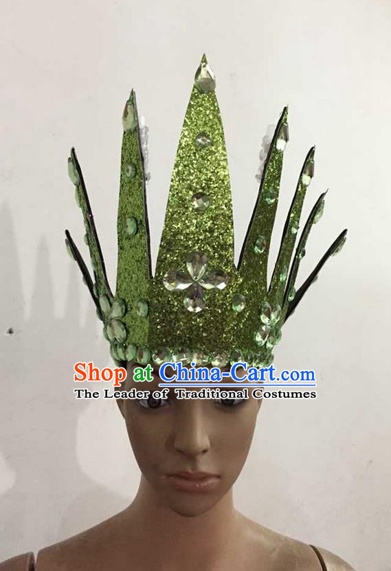 Top Grade Professional Performance Catwalks Hair Accessories, Brazilian Rio Carnival Parade Samba Dance Green Crystal Crown Headwear for Women