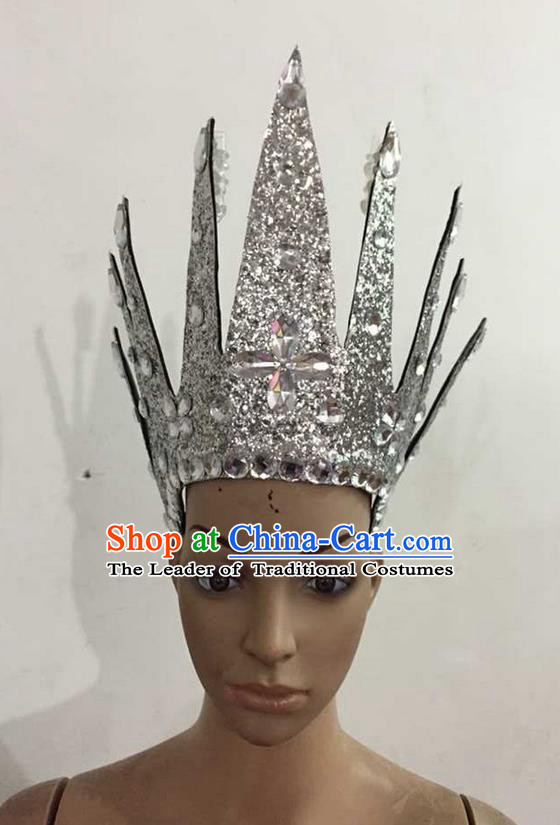 Top Grade Professional Performance Catwalks Hair Accessories, Brazilian Rio Carnival Parade Samba Dance White Crystal Crown Headwear for Women