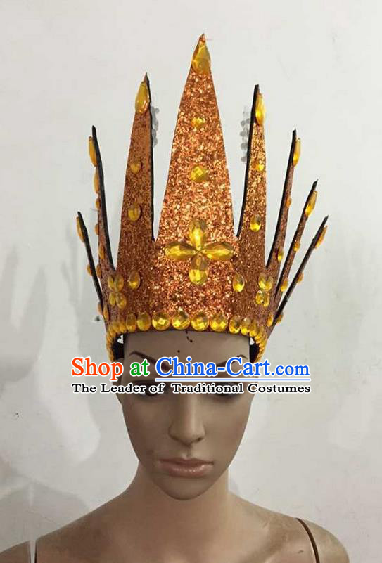 Top Grade Professional Performance Catwalks Hair Accessories, Brazilian Rio Carnival Parade Samba Dance Orange Crystal Crown Headwear for Women