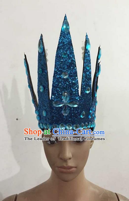 Top Grade Professional Performance Catwalks Hair Accessories, Brazilian Rio Carnival Parade Samba Dance Blue Crystal Crown Headwear for Women