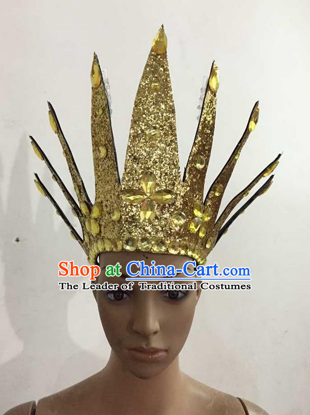 Top Grade Professional Performance Catwalks Hair Accessories, Brazilian Rio Carnival Parade Samba Dance Golden Crystal Crown Headwear for Women
