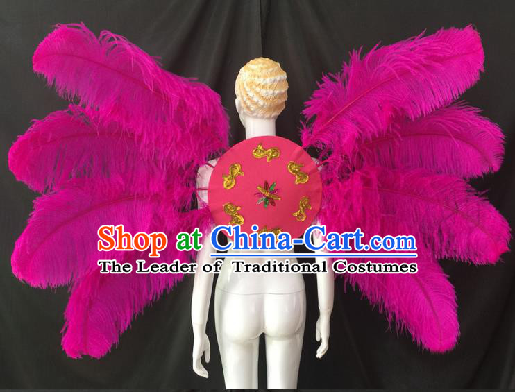 Top Grade Professional Performance Catwalks Rosy Feathers Decorations Backplane, Brazilian Rio Carnival Parade Samba Dance Wings for Women