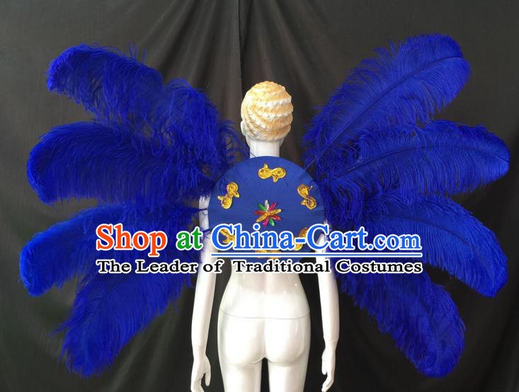 Top Grade Professional Performance Catwalks Royalblue Feathers Decorations Backplane, Brazilian Rio Carnival Parade Samba Dance Wings for Women