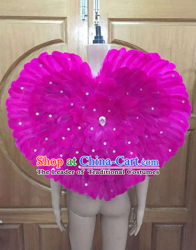 Top Grade Professional Performance Catwalks Rosy Feathers Decorations Heart-shaped Backplane, Brazilian Rio Carnival Parade Samba Dance Props for Women