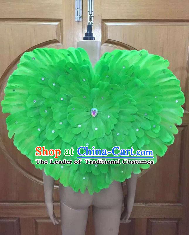Top Grade Professional Performance Catwalks Green Feathers Decorations Heart-shaped Backplane, Brazilian Rio Carnival Parade Samba Dance Props for Women