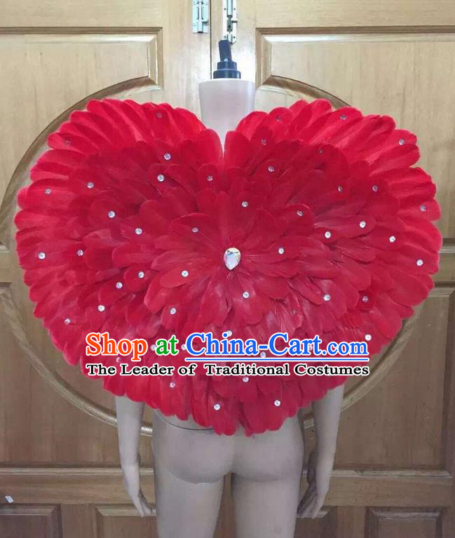 Top Grade Professional Performance Catwalks Red Feathers Decorations Heart-shaped Backplane, Brazilian Rio Carnival Parade Samba Dance Props for Women