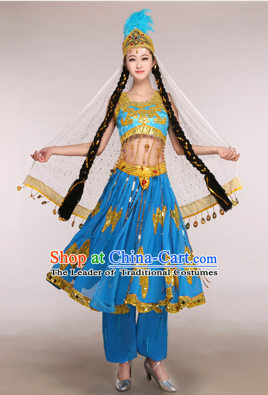 Blue Traditional Xinjiang Folk Dance Costumes for Adults Chinese Minority Ethnic Dance Outfits