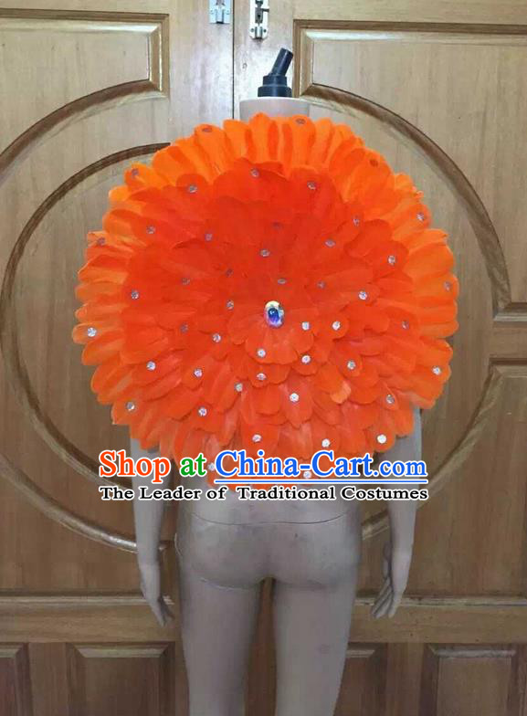 Top Grade Professional Performance Catwalks Orange Feathers Decorations Round Backplane, Brazilian Rio Carnival Parade Samba Dance Props for Women