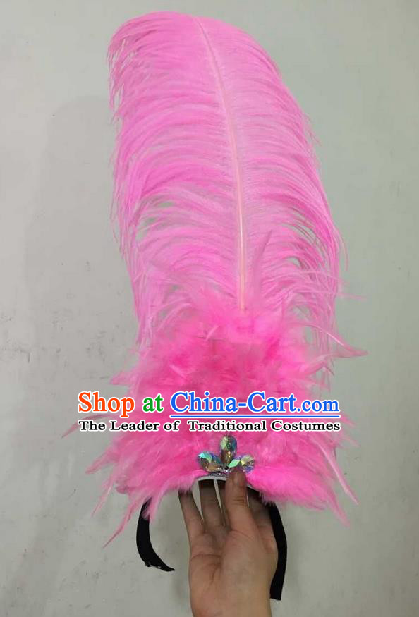 Top Grade Professional Performance Catwalks Halloween Pink Feathers Head Decorations Headpiece, Brazilian Rio Carnival Parade Samba Dance Headwear for Women