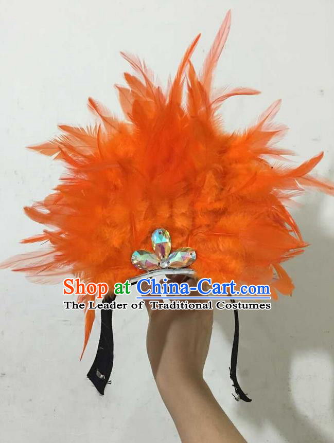 Top Grade Professional Performance Catwalks Halloween Orange Feathers Head Decorations Headpiece, Brazilian Rio Carnival Parade Samba Dance Headwear for Kids