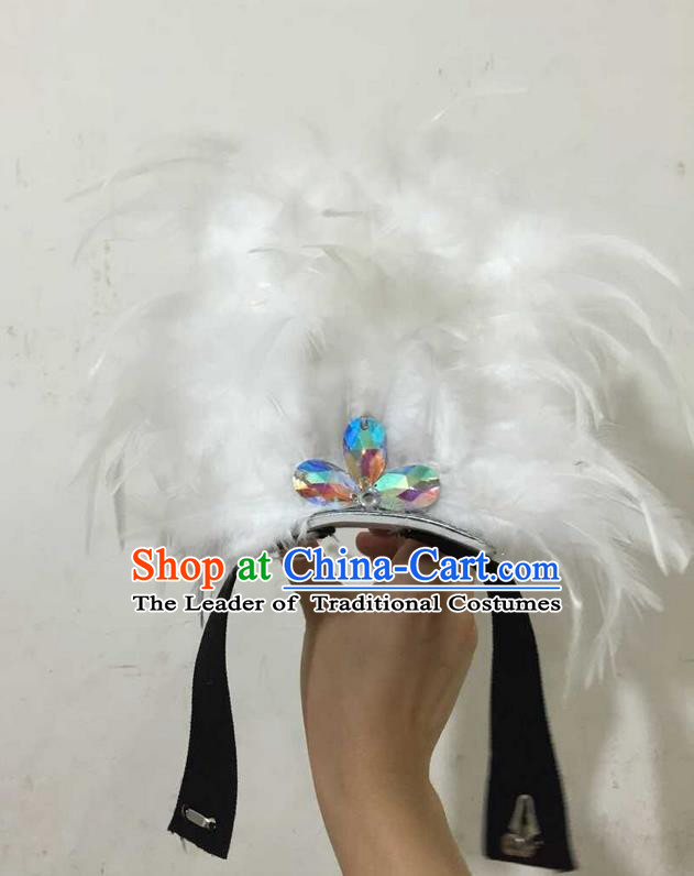 Top Grade Professional Performance Catwalks Halloween White Feathers Head Decorations Headpiece, Brazilian Rio Carnival Parade Samba Dance Headwear for Kids