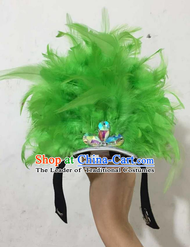 Top Grade Professional Performance Catwalks Halloween Green Feathers Head Decorations Headpiece, Brazilian Rio Carnival Parade Samba Dance Headwear for Kids