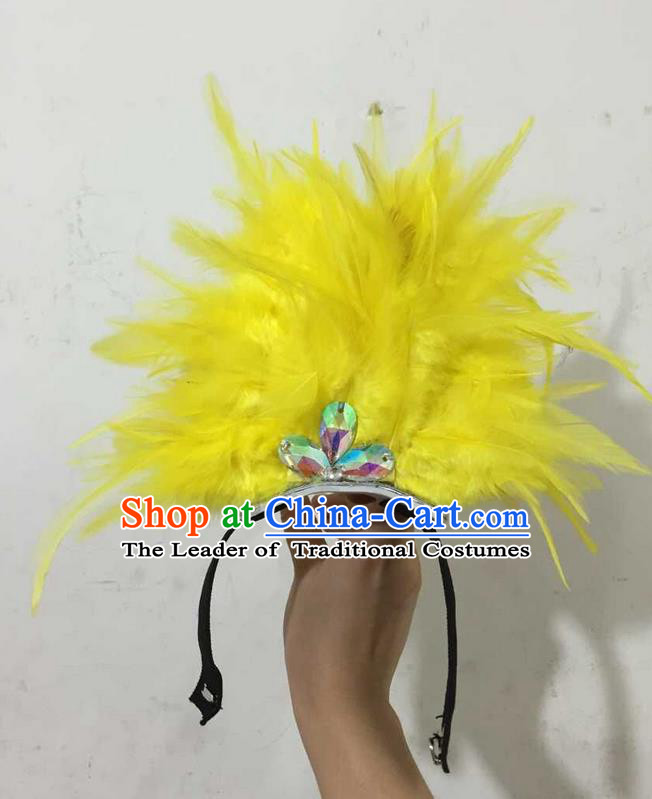 Top Grade Professional Performance Catwalks Halloween Yellow Feathers Head Decorations Headpiece, Brazilian Rio Carnival Parade Samba Dance Headwear for Kids