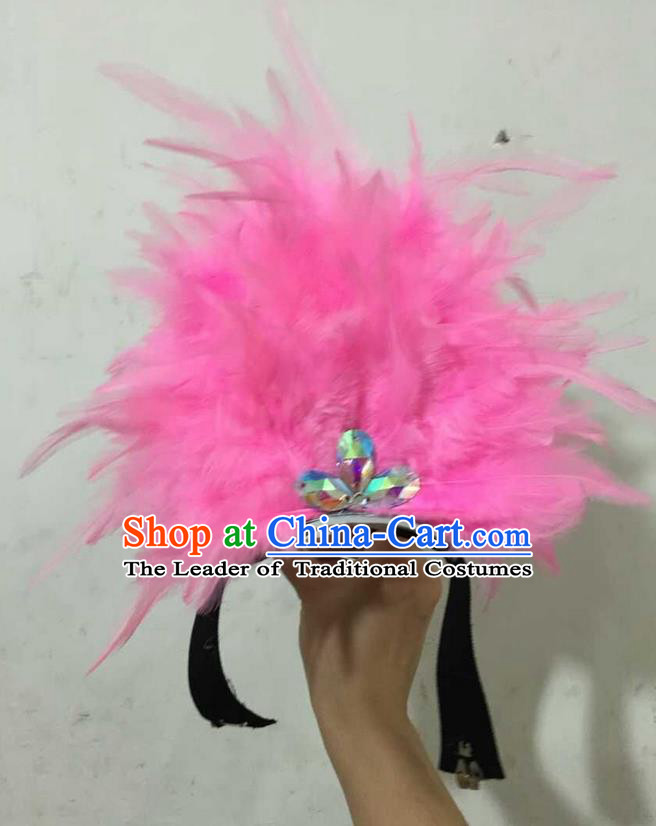 Top Grade Professional Performance Catwalks Halloween Pink Feathers Head Decorations Headpiece, Brazilian Rio Carnival Parade Samba Dance Headwear for Kids