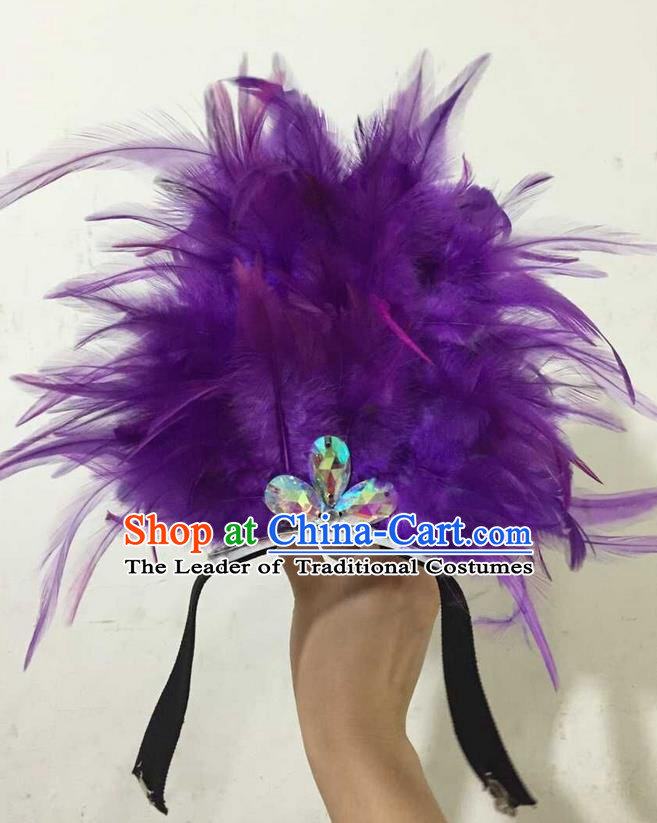 Top Grade Professional Performance Catwalks Halloween Purple Feathers Head Decorations Headpiece, Brazilian Rio Carnival Parade Samba Dance Headwear for Kids