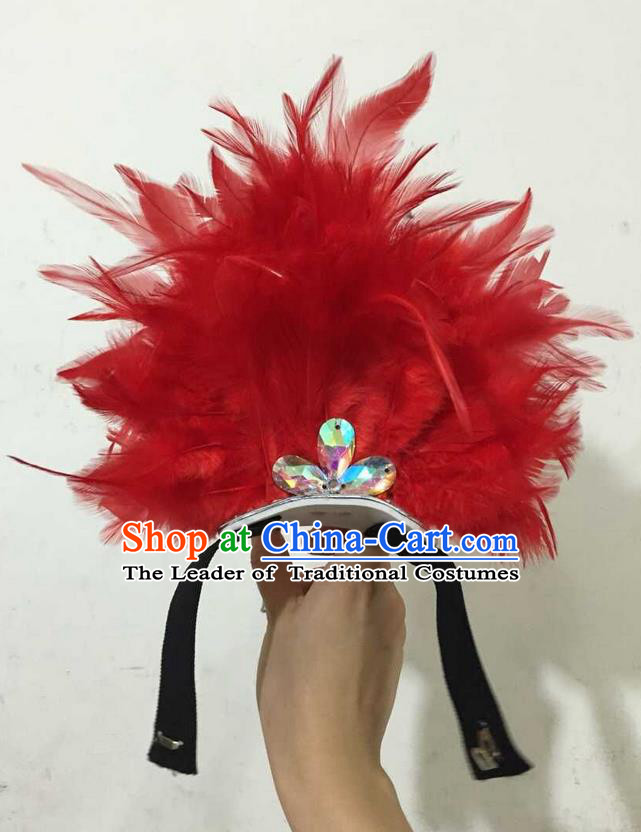 Top Grade Professional Performance Catwalks Halloween Red Feathers Head Decorations Headpiece, Brazilian Rio Carnival Parade Samba Dance Headwear for Kids