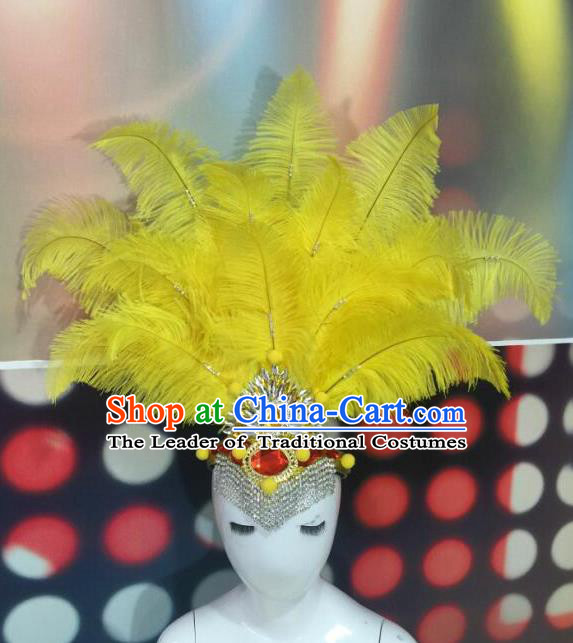 Top Grade Professional Performance Catwalks Yellow Feathers Head Decorations Headwear, Brazilian Rio Carnival Parade Samba Dance Hair Accessories for Women