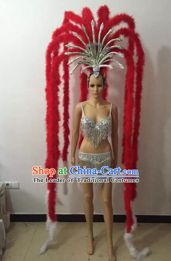 Top Grade Professional Performance Catwalks Halloween Decorations Red Headpiece, Brazilian Rio Carnival Parade Samba Dance Big Hair Accessories for Women