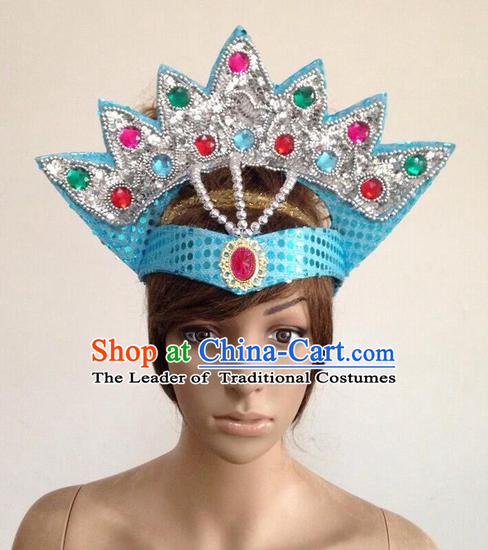 Top Grade Professional Performance Catwalks Blue Crystal Crown Decorations Hair Accessories, Brazilian Rio Carnival Parade Samba Dance Headpiece for Women