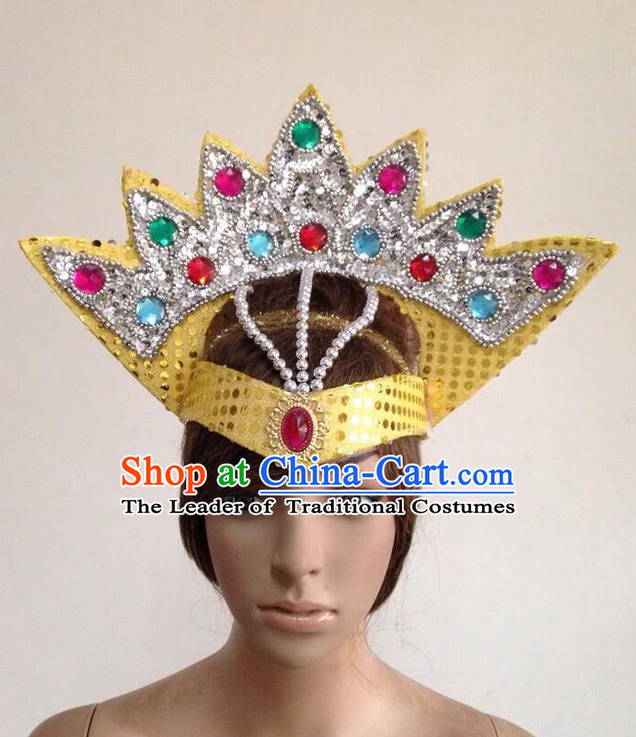 Top Grade Professional Performance Catwalks Yellow Crystal Crown Decorations Hair Accessories, Brazilian Rio Carnival Parade Samba Dance Headpiece for Women