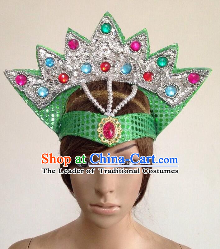 Top Grade Professional Performance Catwalks Green Crystal Crown Decorations Hair Accessories, Brazilian Rio Carnival Parade Samba Dance Headpiece for Women