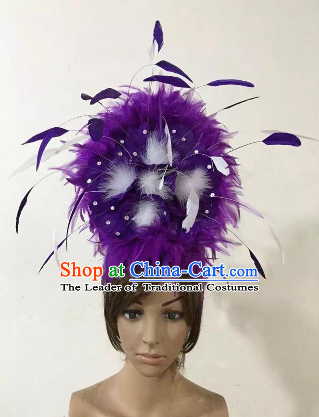 Top Grade Professional Performance Catwalks Purple Feather Hair Accessories, Brazilian Rio Carnival Parade Samba Dance Headpiece for Women