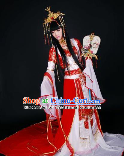 Top Grade Traditional China Ancient Cosplay Costumes, China Ancient Young Lady Princess Elegant Hanfu Red Dress for Women