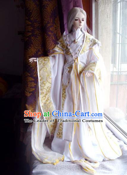 Top Grade Traditional China Ancient Cosplay Prince Swordsman Costumes, China Ancient Taoist Master Hanfu Clothing for Men for Kids