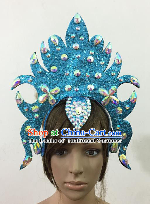 Top Grade Professional Performance Catwalks Queen Crystal Blue Crown Hair Accessories, Brazilian Rio Carnival Parade Samba Dance Headpiece for Women