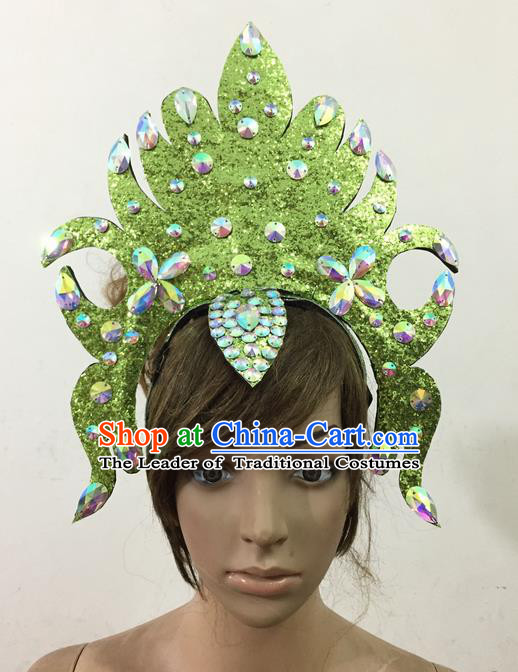 Top Grade Professional Performance Catwalks Queen Crystal Green Crown Hair Accessories, Brazilian Rio Carnival Parade Samba Dance Headpiece for Women