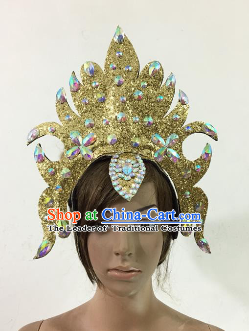 Top Grade Professional Performance Catwalks Queen Crystal Golden Crown Hair Accessories, Brazilian Rio Carnival Parade Samba Dance Headpiece for Women