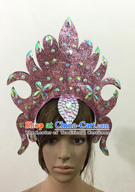 Top Grade Professional Performance Catwalks Queen Crystal Pink Crown Hair Accessories, Brazilian Rio Carnival Parade Samba Dance Headpiece for Women