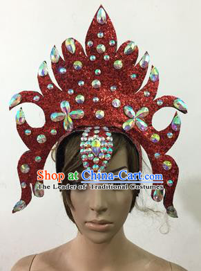 Top Grade Professional Performance Catwalks Queen Crystal Red Crown Hair Accessories, Brazilian Rio Carnival Parade Samba Dance Headpiece for Women